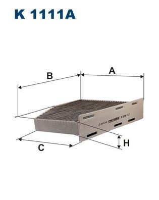 1 Stück K1111A Innenraumfilter Aktivkohle