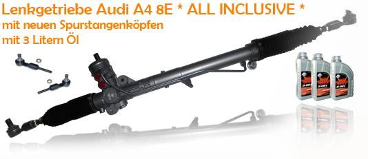 Lenkgetriebe Audi A4 8E mit neuen Spurstangenköpfen + Hydrauliköl